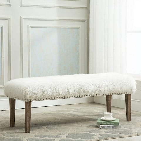 Silver Orchid Fields Nailhead Upholstered Vanity Bench