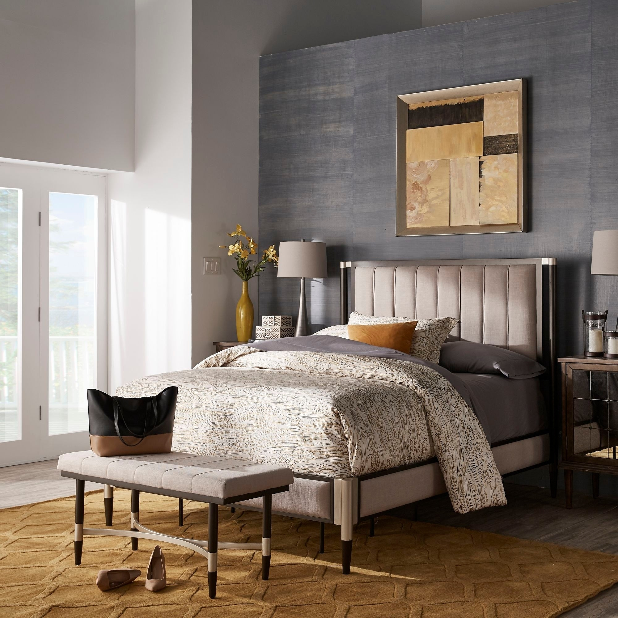 Sierra Beige Fabric Queen Bed Bench Or Set By Inspire Q Modern On Sale Overstock 29033622