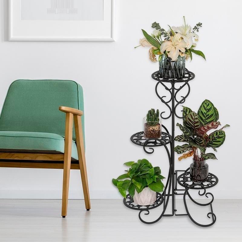 Metal Plant 2 Tiers Stand Shelf Black//White Garden Balcony Flower Pot Decor Home