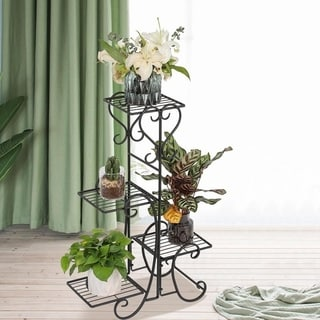 Outdoor Garden Metal Plant Stand Shelf Holds Decoration 4-Flower Pot