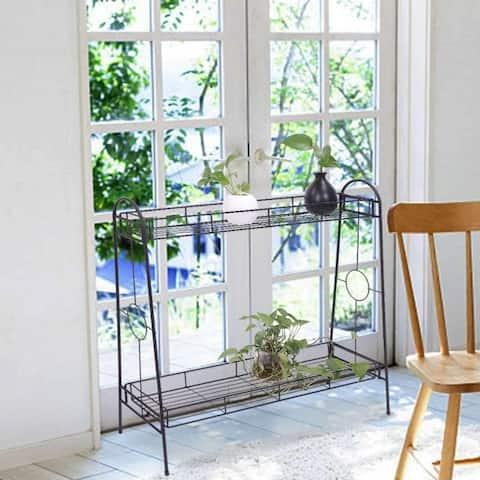 Indoor/Outdoor 2-Tier Metal Flower Stand Plant Stand Rack w/Tray Design Garden & Home