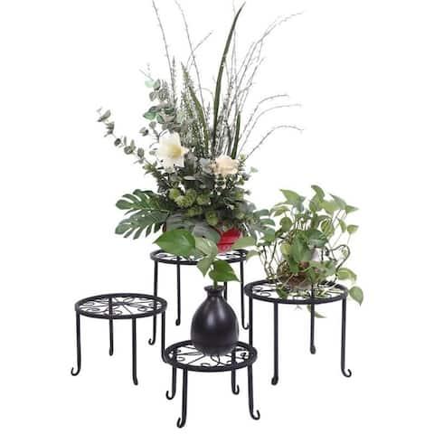 Metal Flower Pot Plant Stand Plant Shelf Set of 4 for Home Decor