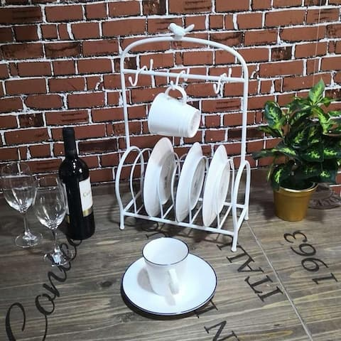 Bird Cage Shape Table Meal Tray Holder Rack Display Stand Service for Cups Bracket