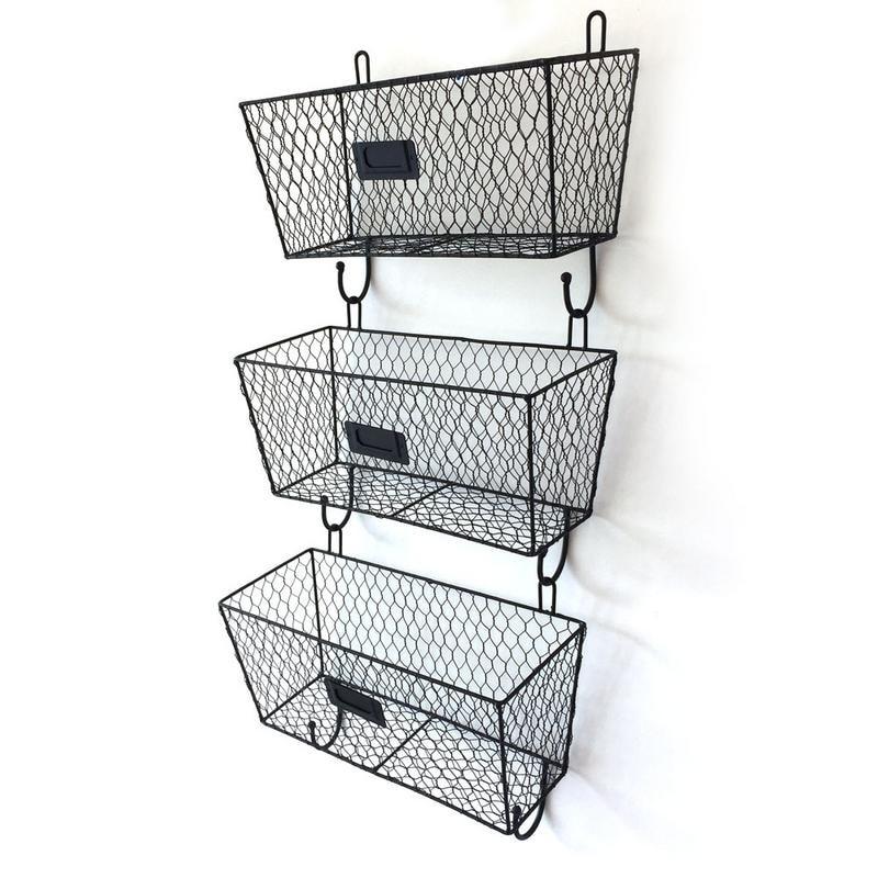 3pcs Wire Letter Mail Mount Metal Rack Basket Vintage Triple Organizer Black Overstock 29034400