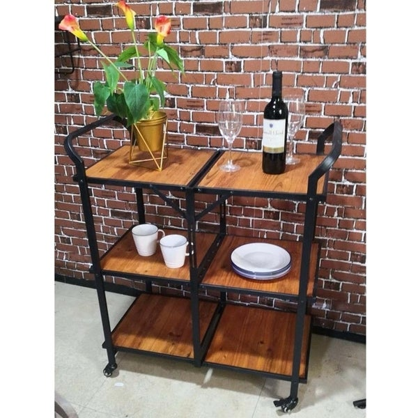 Carbon Loft Moran Iron and Wood Foldable Rolling Microwave Cart