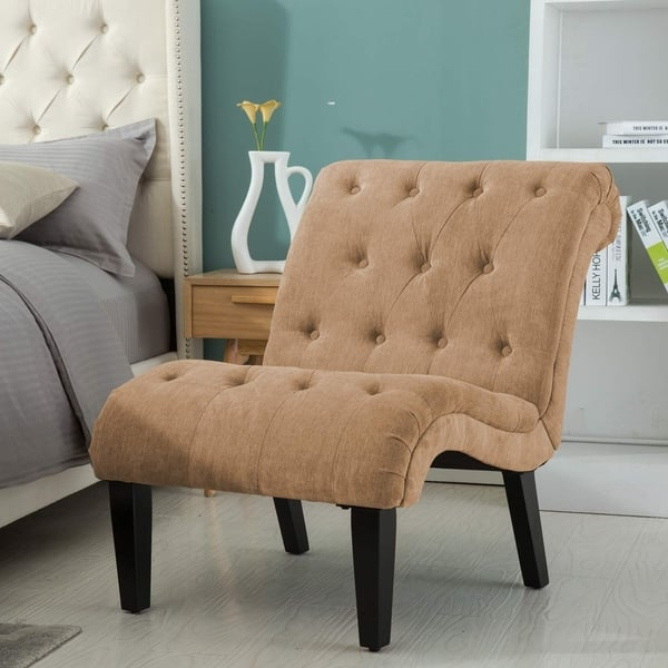 Remarkable Shop Copper Grove Kamianske Armless Linen Upholstered Accent Andrewgaddart Wooden Chair Designs For Living Room Andrewgaddartcom