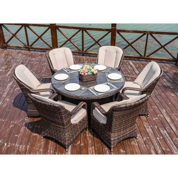 Moda 7-Piece Patio Wicker Round Dining Table Set with Cushions