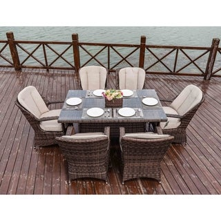 Moda 7-Piece Patio Wicker Square Dining Table Set with Cushions