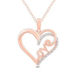 Cali Trove 925S Sterling Silver Pink Plated With 1 20ct TDW Heart Pendant