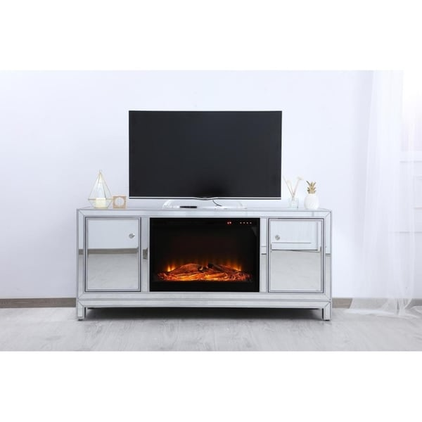 Shop 60 In Mirrored Fireplace Tv Stand N A Free