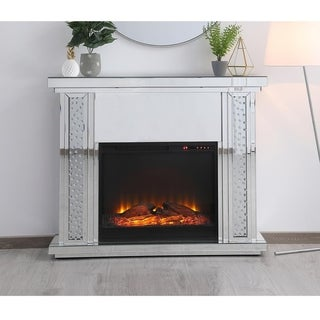 47.5 in. Crystal Mirrored Fireplace Mantle