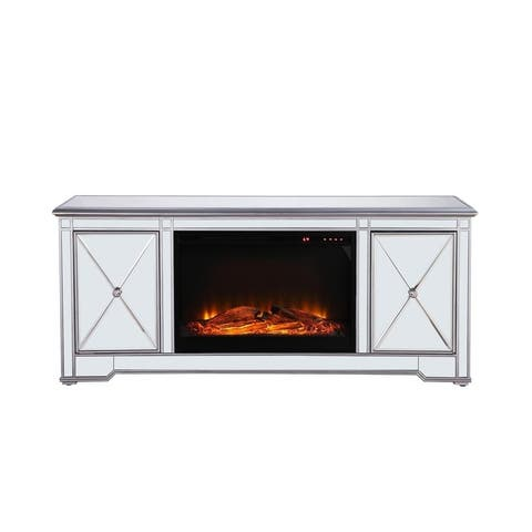 60 in. Mirrored Fireplace TV Stand