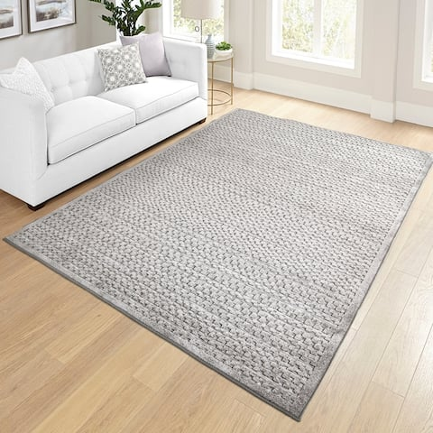 """My Texas House by Orian Indoor/Outdoor Quail Hollow Silverstone Area Rug - 5'2"""" x 7'6"""""""