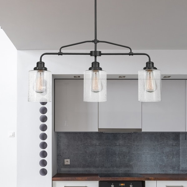 Copper Grove Mohyliv 3-light Dark Bronze Linear Chandelier with Seeded Glass Shades. Opens flyout.