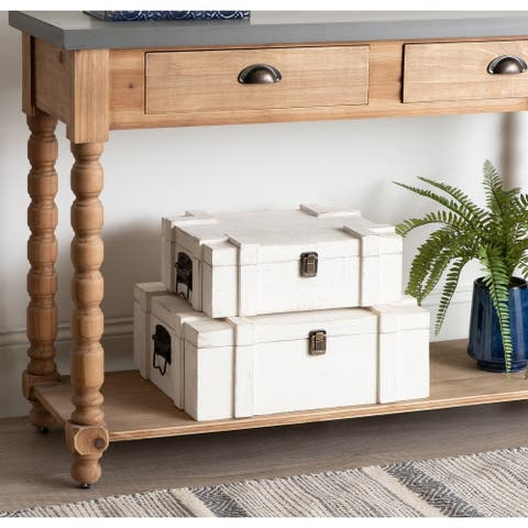 Kate and Laurel Clearly Storage Wood Trunk Set - White - 2 Piece