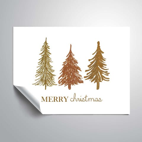 ArtWall Three Trees Merry Christmas Removable Wall Art Mural