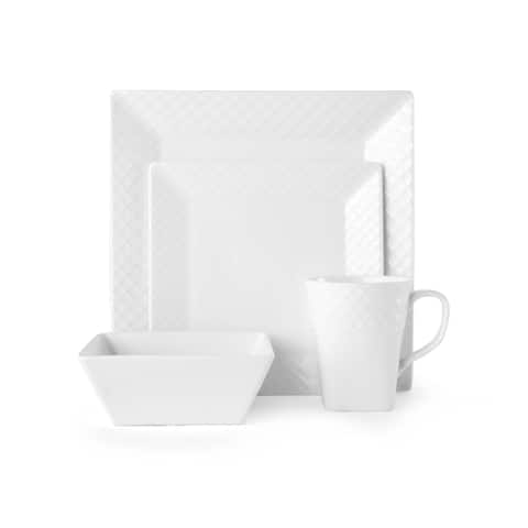 Mikasa Trellis Square Bone China 16 Piece Dinnerware Set (Service for 4)