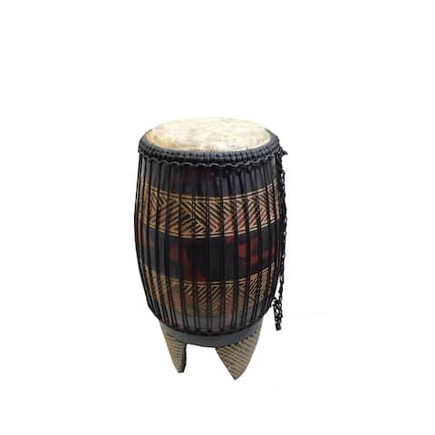 Handmade Tall Bongo Drum On Stand (Ghana) - N/A