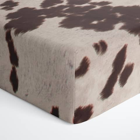 Glenna Jean Baby Fitted Crib Sheet Brown and White Cow Skin Western Animal Print for Baby Boys and Girls