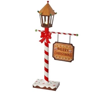 Regency Merry Christmas Gingerbread Streetlamp and Sign LED Battery Powered