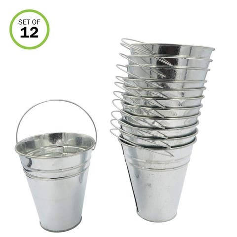 Evelots Large Galvanized-Metal Pail-Buckets-Planters W/Handle -Set/12 - Set of 12