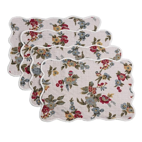Cozy Line Colorful Floral Quilted Linen Placemats (Set of 4)