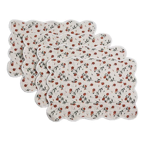 Cozy Line Beige Floral Quilted Linen Placemats (Set of 4)