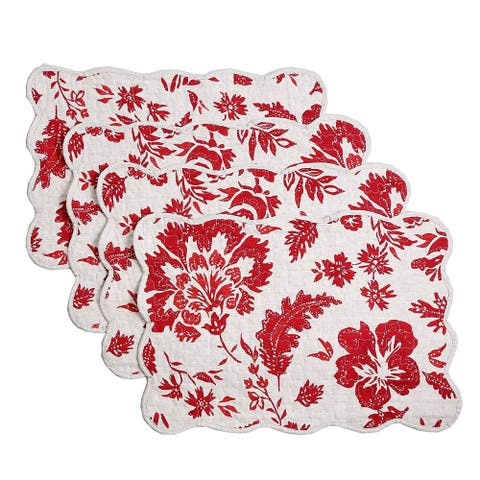 Cozy Line Red Flower Quilted Linen Placemats (Set of 4)