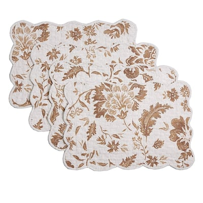 Cozy Line Brown Flower Quilted Linen Placemats (Set of 4)