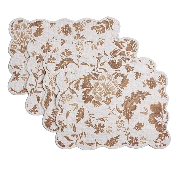 Cozy Line Brown Flower Quilted Linen Placemats (Set of 4). Opens flyout.