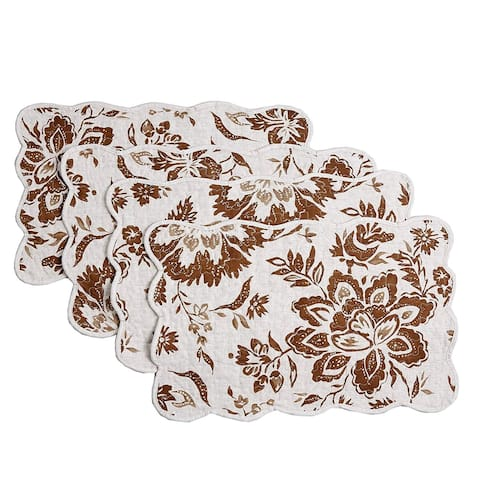 Cozy Line Chocolate Flower Quilted Linen Placemats (Set of 4)