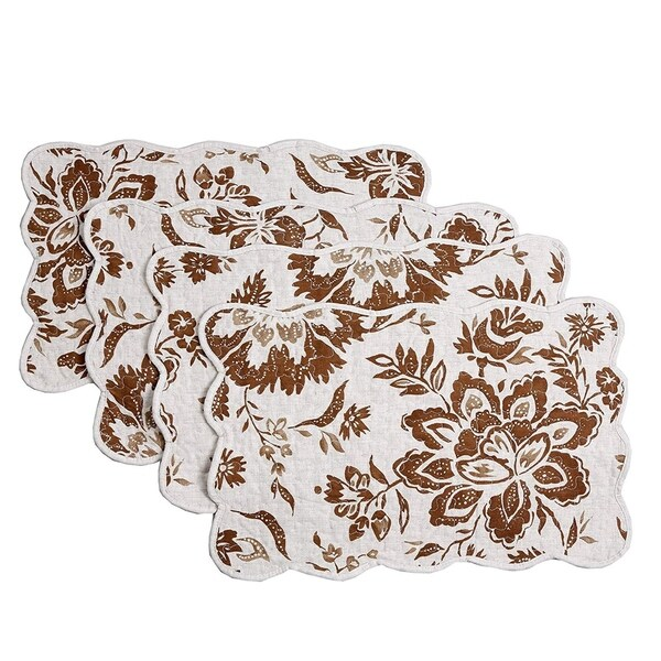 Cozy Line Chocolate Flower Quilted Linen Placemats (Set of 4). Opens flyout.