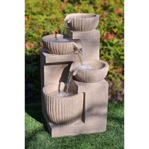4 Tiered Cascading Fountain - Beige Color