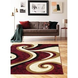 "Princess Collection Geometric Swirl Abstract Area Rug, 5' 2"" x 7' 2"",Cream / Burgundy"