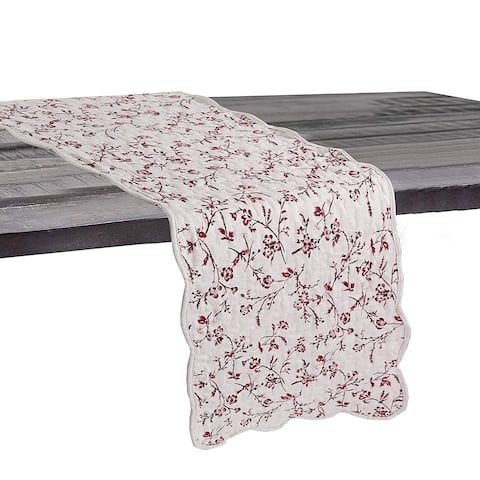 Cozy Line Red Floral Quilted Linen Table Runner