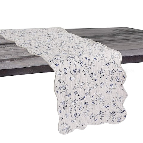 Cozy Line Blue Floral Quilted Linen Table Runner