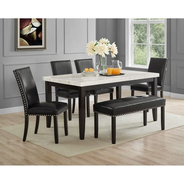 Terrific Shop Winlock Faux Leather Dining Bench With Nailheads By Machost Co Dining Chair Design Ideas Machostcouk