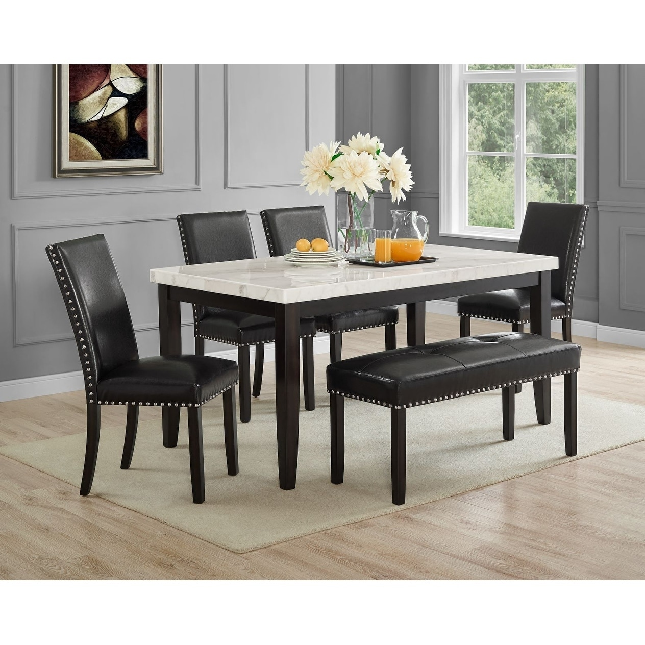 Winlock White Marble Dining Set by Greyson Living