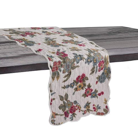 Cozy Line Colorful Floral Quilted Linen Table Runner