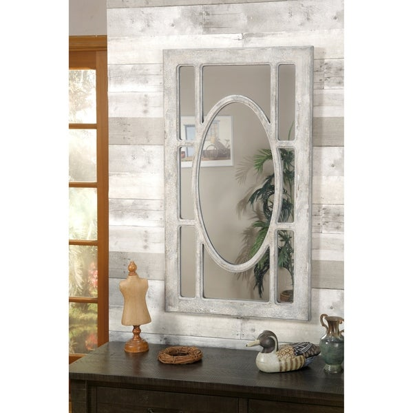 Martin Svensson Home Rectangular Window Pane Wall Mirror, Antique Grey