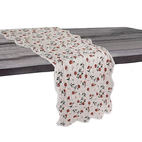 Cozy Line Beige Floral Quilted Linen Table Runner