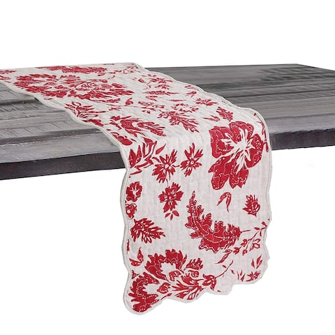 Cozy Line Red Flower Quilted Linen Table Runner