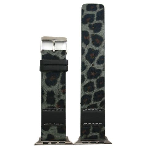 Olivia Pratt Stitched Cheetah Leather Band for Apple Watch