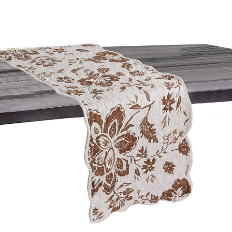 Cozy Line Chocolate Flower Quilted Linen Table Runner