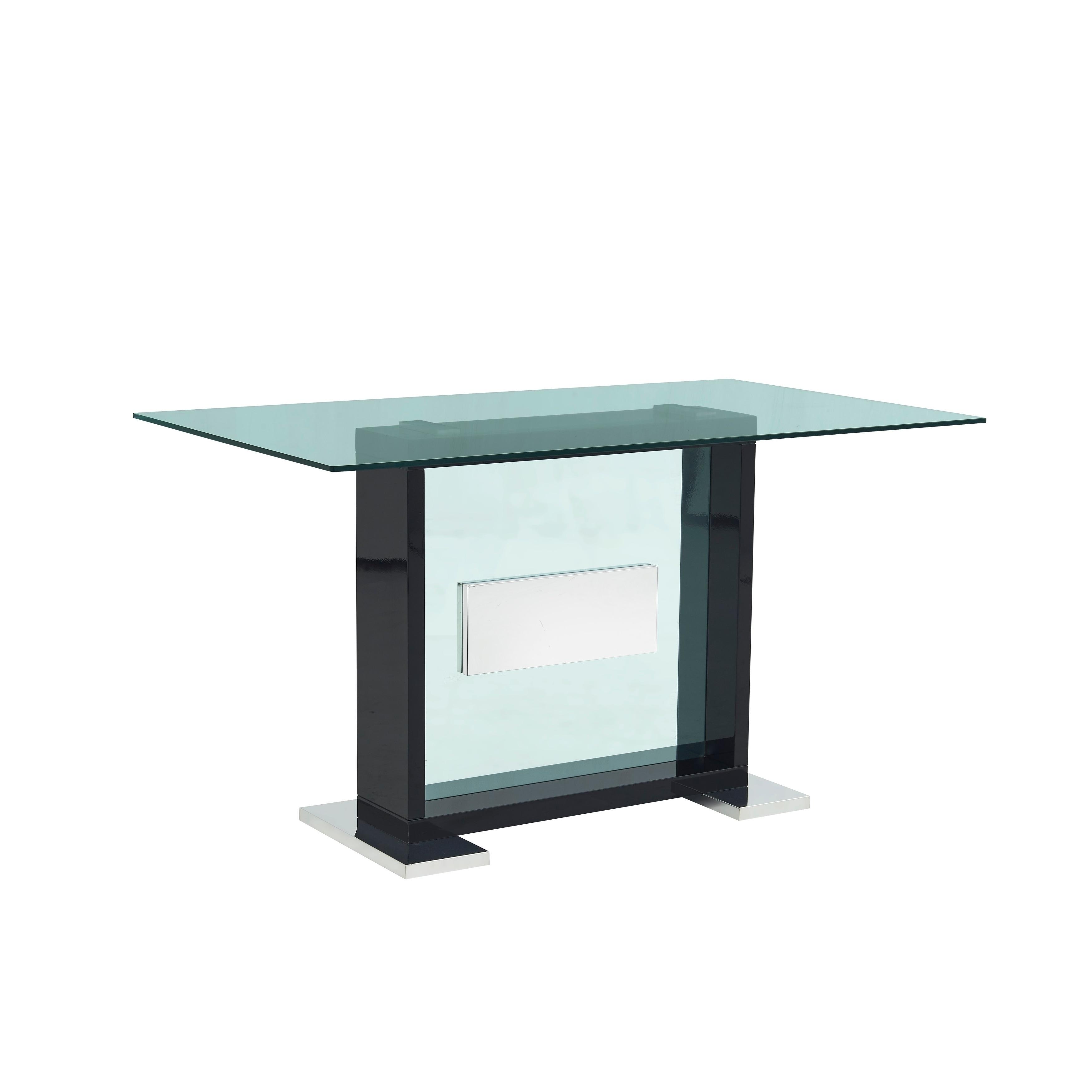 Gl Top Contemporary Black Bar Table