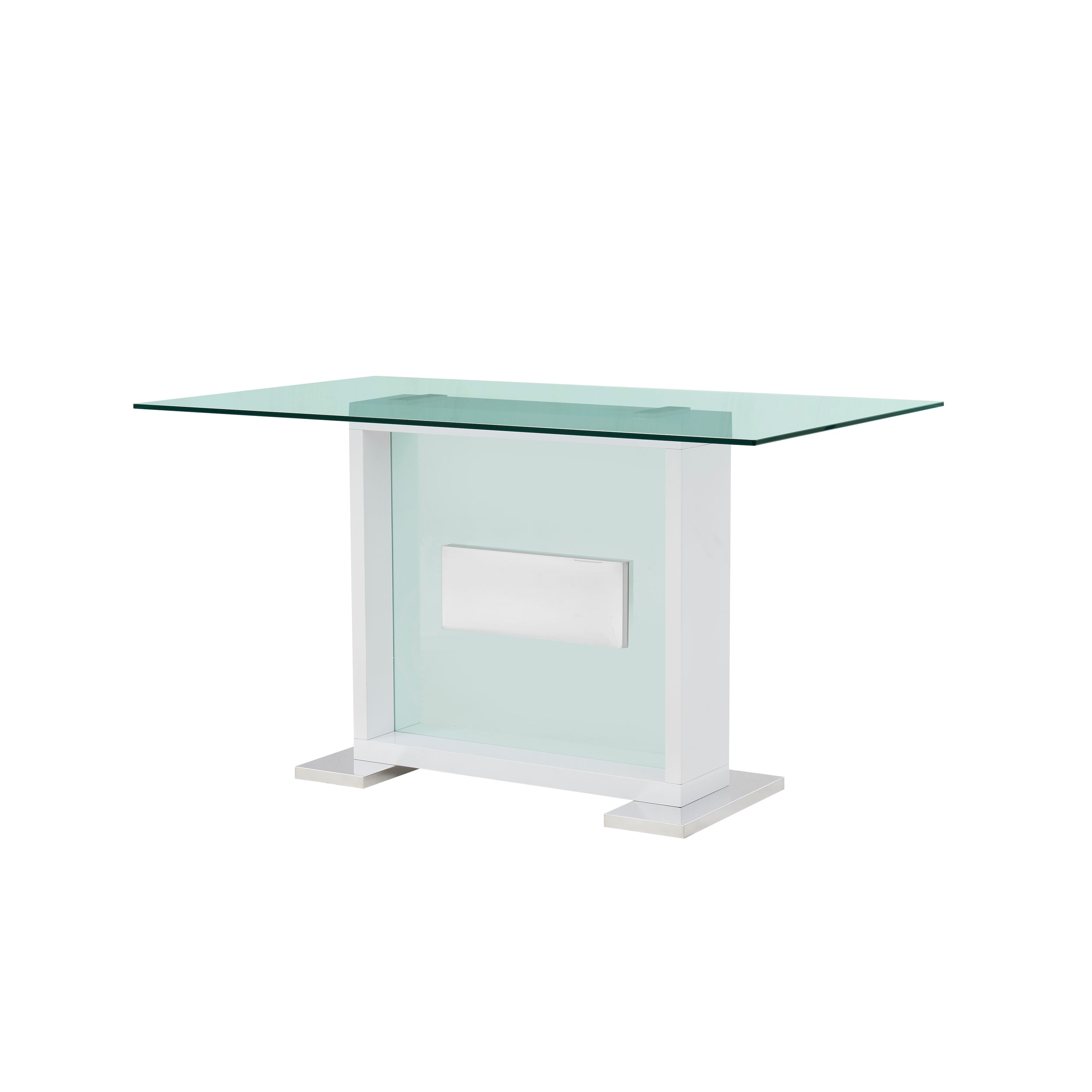 Gl Top Contemporary White Bar Table