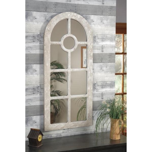 Martin Svensson Home Arched Window Pane Wall Mirror, Antique White