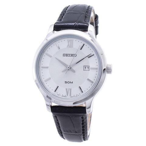 Seiko Women's SUR645 Neo Classic Black Leather Watch