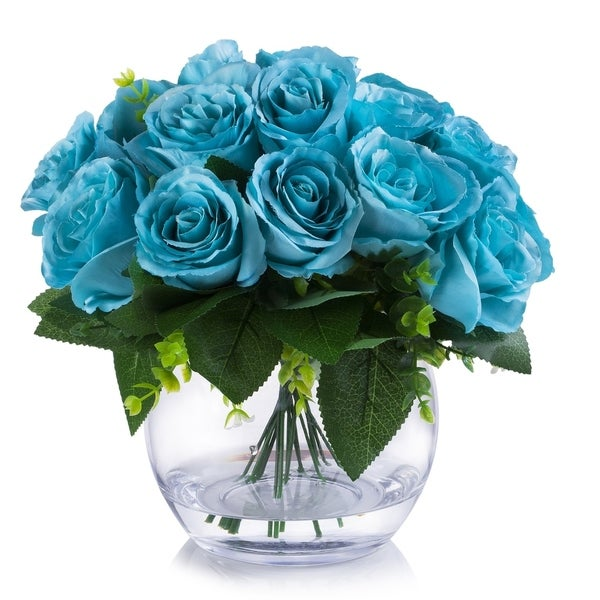 Enova Home 18 Heads Silk Rose Flower Arrangement in Clear Glass Vase with Faux Water For Home Wedding Centerpiece
