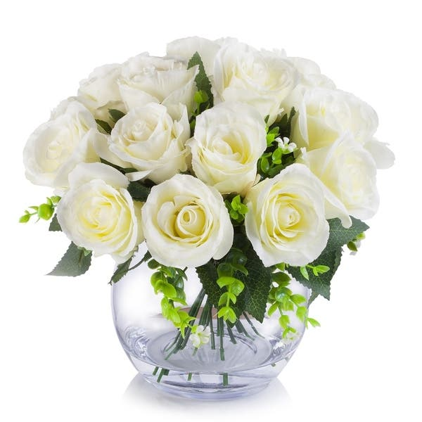 Enova Home 18 Heads Silk Rose Flower Arrangement In Clear Glass Vase With Faux Water Overstock 29039723